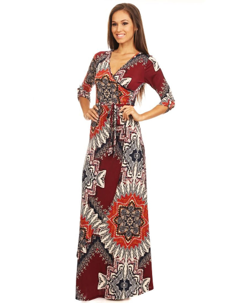 Maxi Dress with Sleeves Malnative Maroon