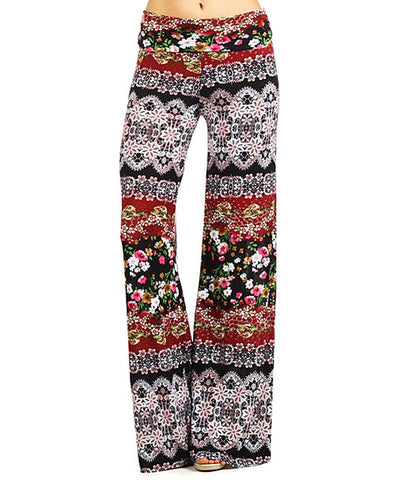 Foldover Palazzo Pants Bohemian Floral Brown Red