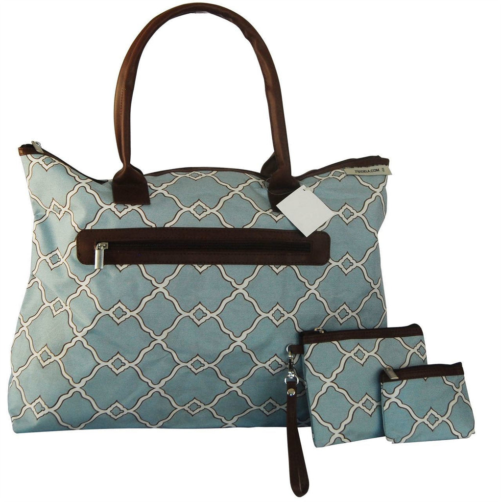 Brown Accent with Blue White Ornament Pattern 2 Piece Tote Handbag