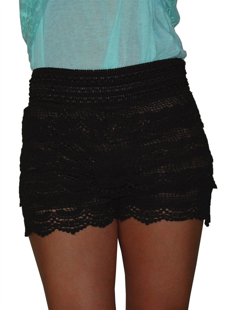 Brown Lace Scalloped Shorts