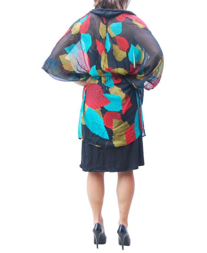 Cardigan Kimono Floral Blue Red Golden Leaves