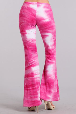 Bell Bottoms Yoga Stretch Pants Tie Dye 01 Pink White