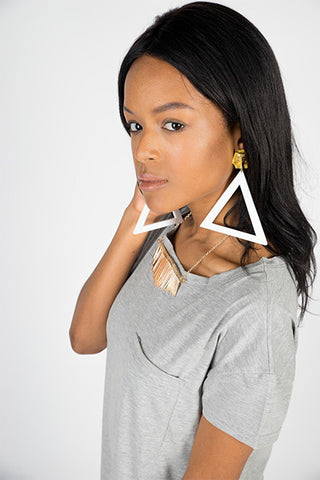 We Are Queens Triangle Earrings - Neue Amour