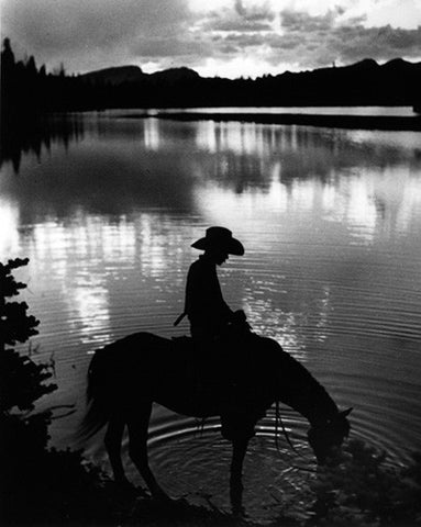 Cowboy on Horse at Lake