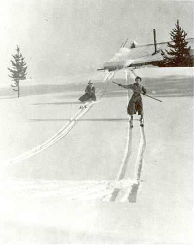 Early Skiing with Pole for Balance