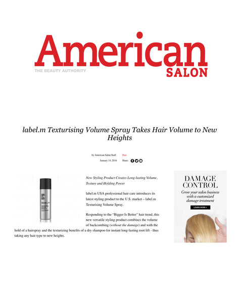 Label.m takes hair volume to new heights in American Salon
