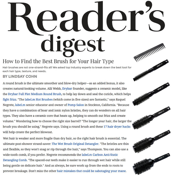 label.m Hot Brushes and Detangling Comb Named Best Brushes for All Hair Types by Readers Digest