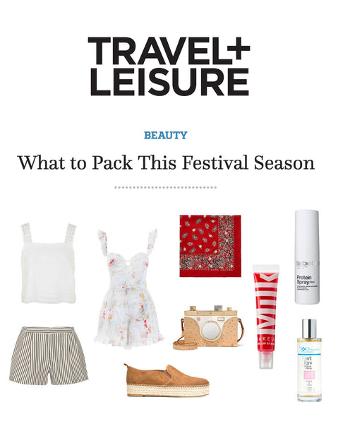 Travel + Leisure Suggests label.m Protein Spray as a Summer Festival Essential