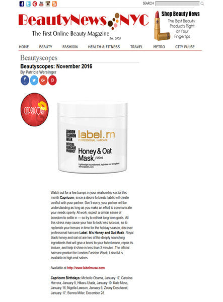 Beauty News NYC recommends Honey & Oat Mask to replenish tresses in time for the holidays.