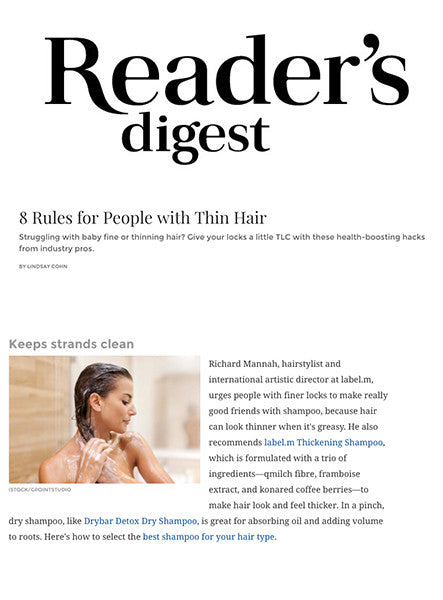 label.m Thickening Shampoo featured in Reader's Digest Online: 8 Rules for People with Thin Hair