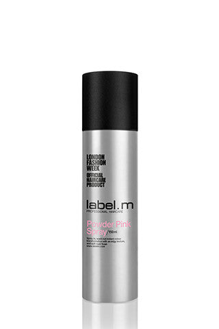 Powder Pink Spray 150ml. Hair coloring product by labelm, silver can with black cap