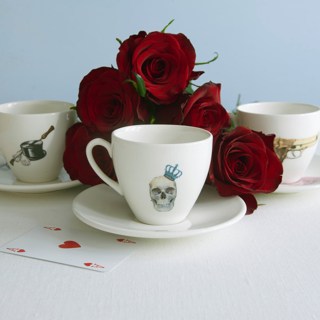 Commissioned personalised Tea Cup & Saucer in white earthenware