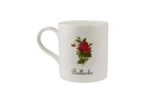 Bollocks Mug with small red rose