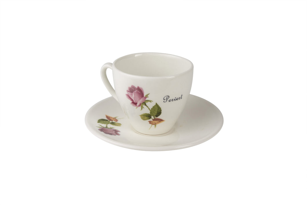Pervert Tea Cup & Saucer with pink rose