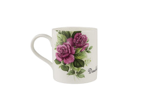 Douchebag Mug with purple rose decal
