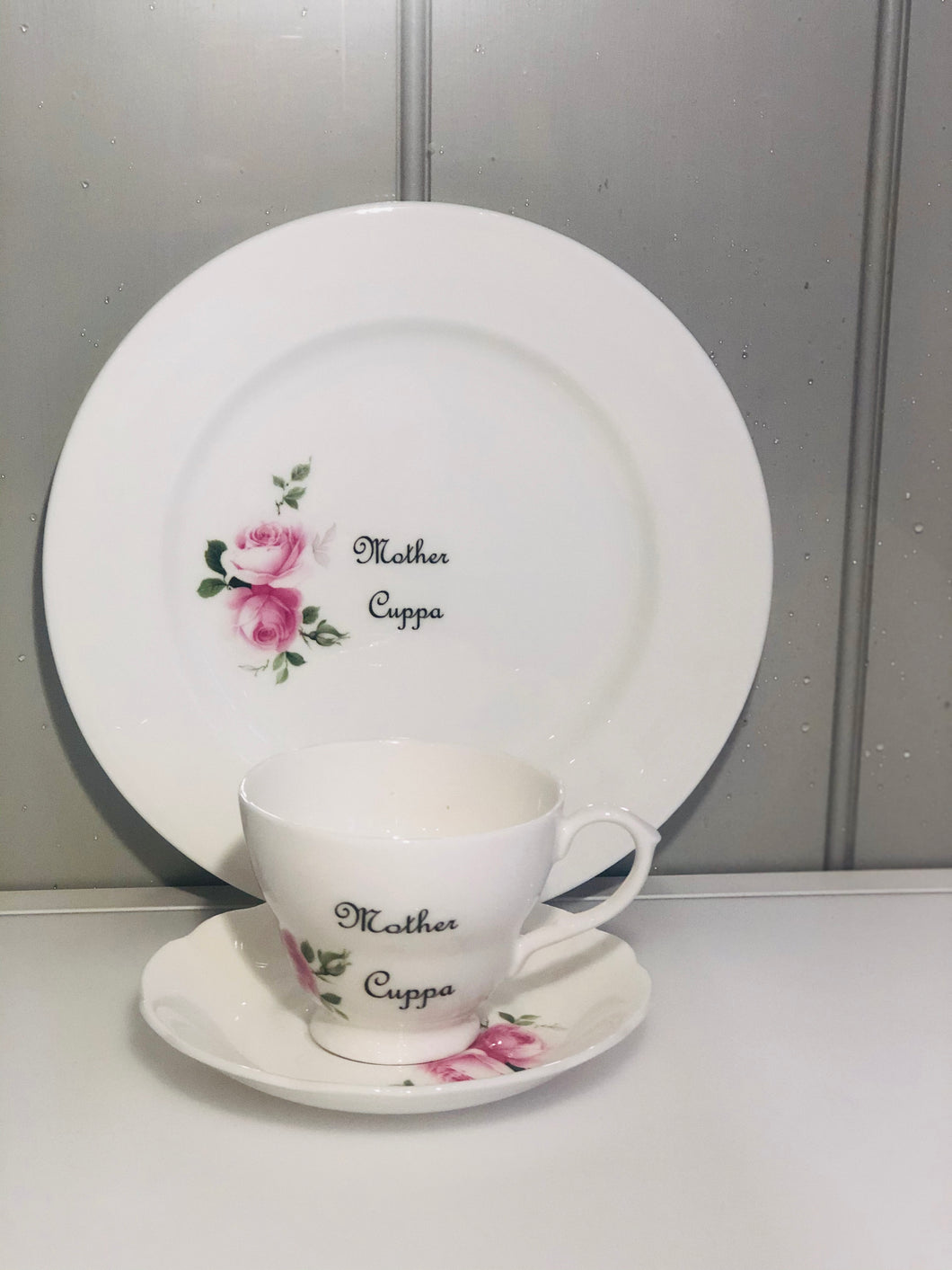 Mother Cuppa tea cup & saucer and side plate in fine bone china