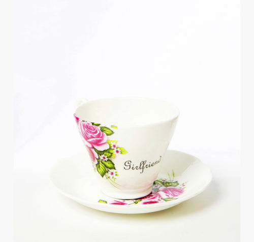 Commissioned personalised Tea Cup & Saucer in fine bone china