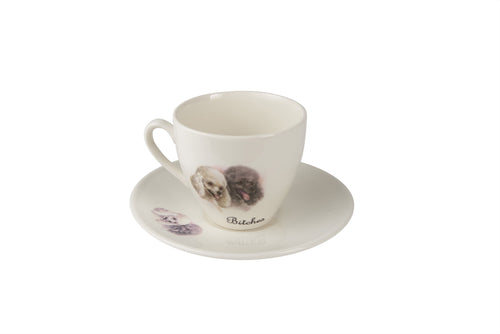 Bitches Tea Cup & Saucer - Poodles