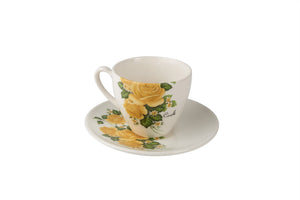 Cock Tea Cup & Saucer - yellow florals