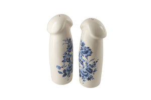 Pair of Large Blue Floral Salt & Pepper Shakers