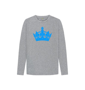 Athletic Grey Kids Blue Crown long sleeved T-shirt