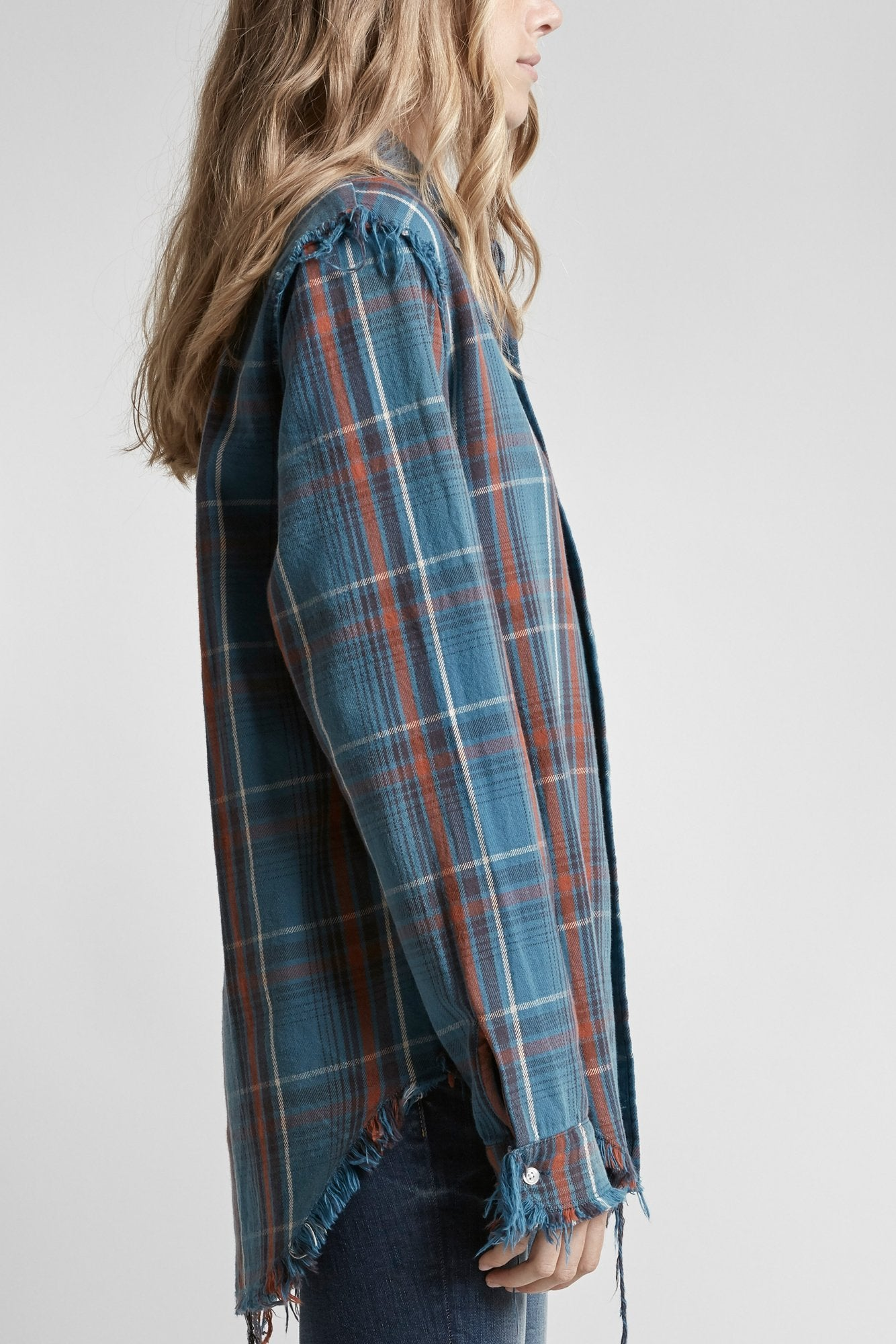 Shredded Seam Shirt-Blue Plaid