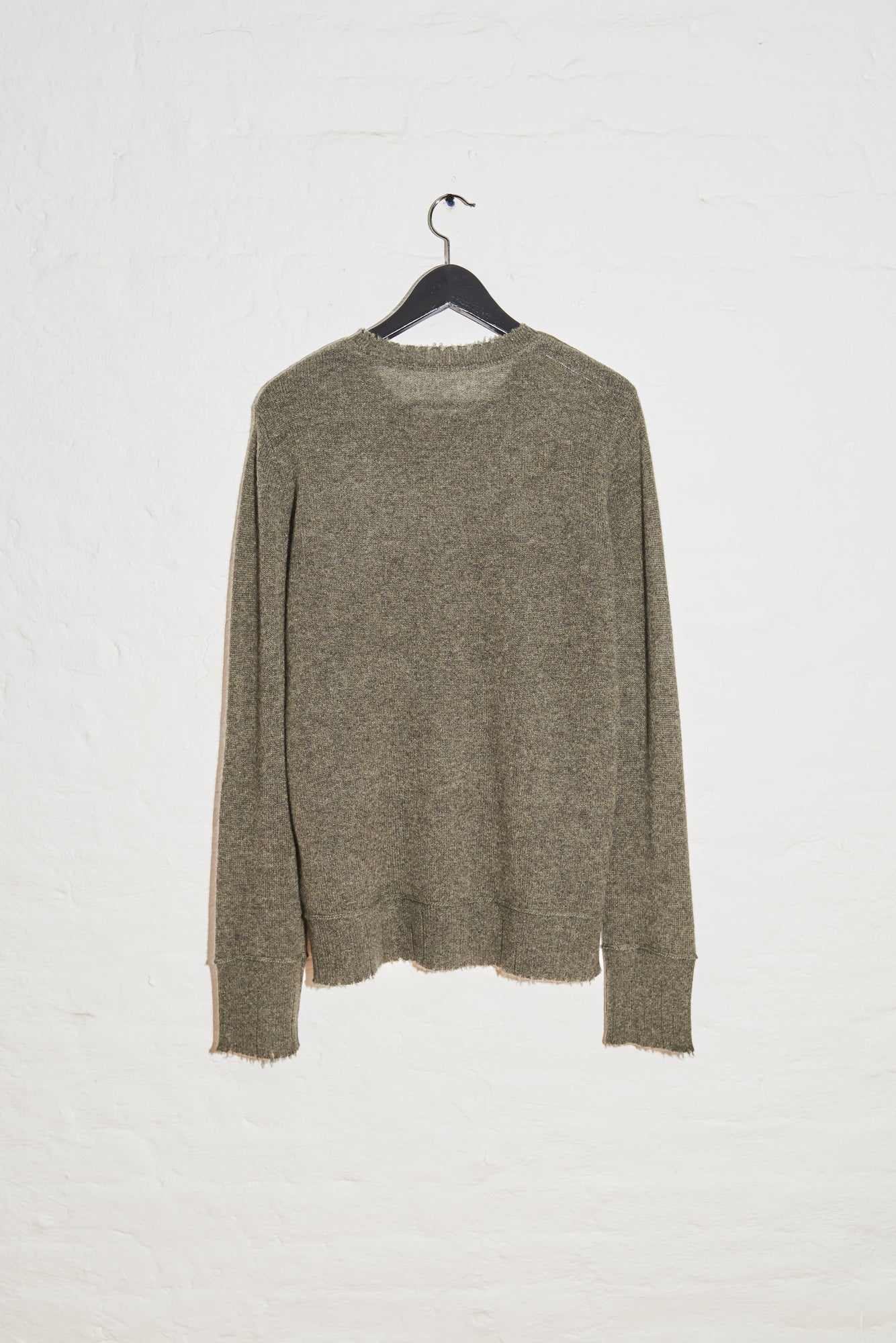 Distressed Edge Crewneck Sweater - Olive