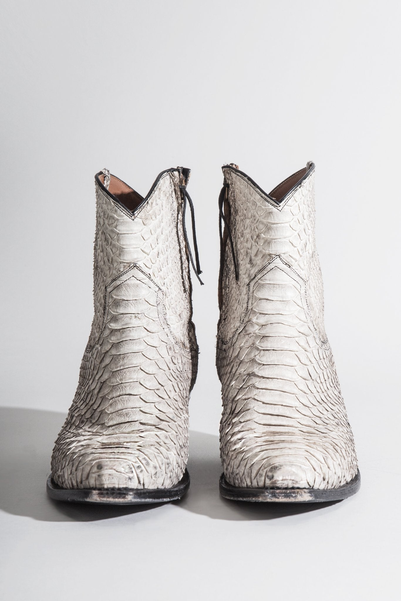 Cowboy Ankle Boot White Snake