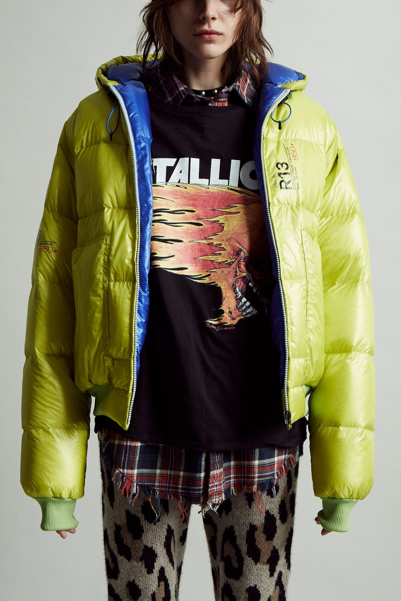 Down Jacket - Lime and Bright Blue