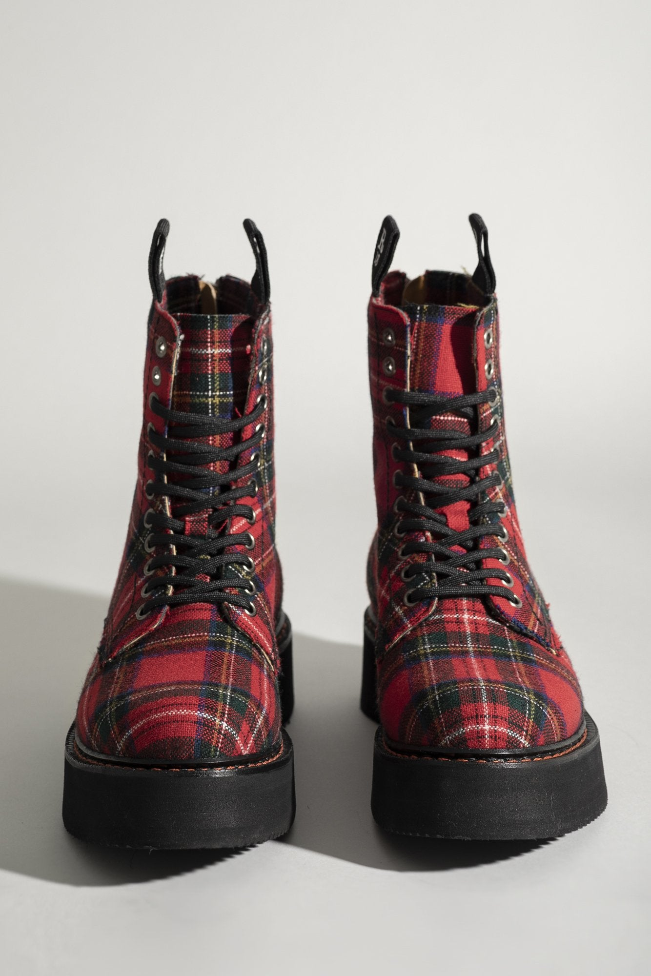 R13 Single Stack Laceup Boot - Red Plaid