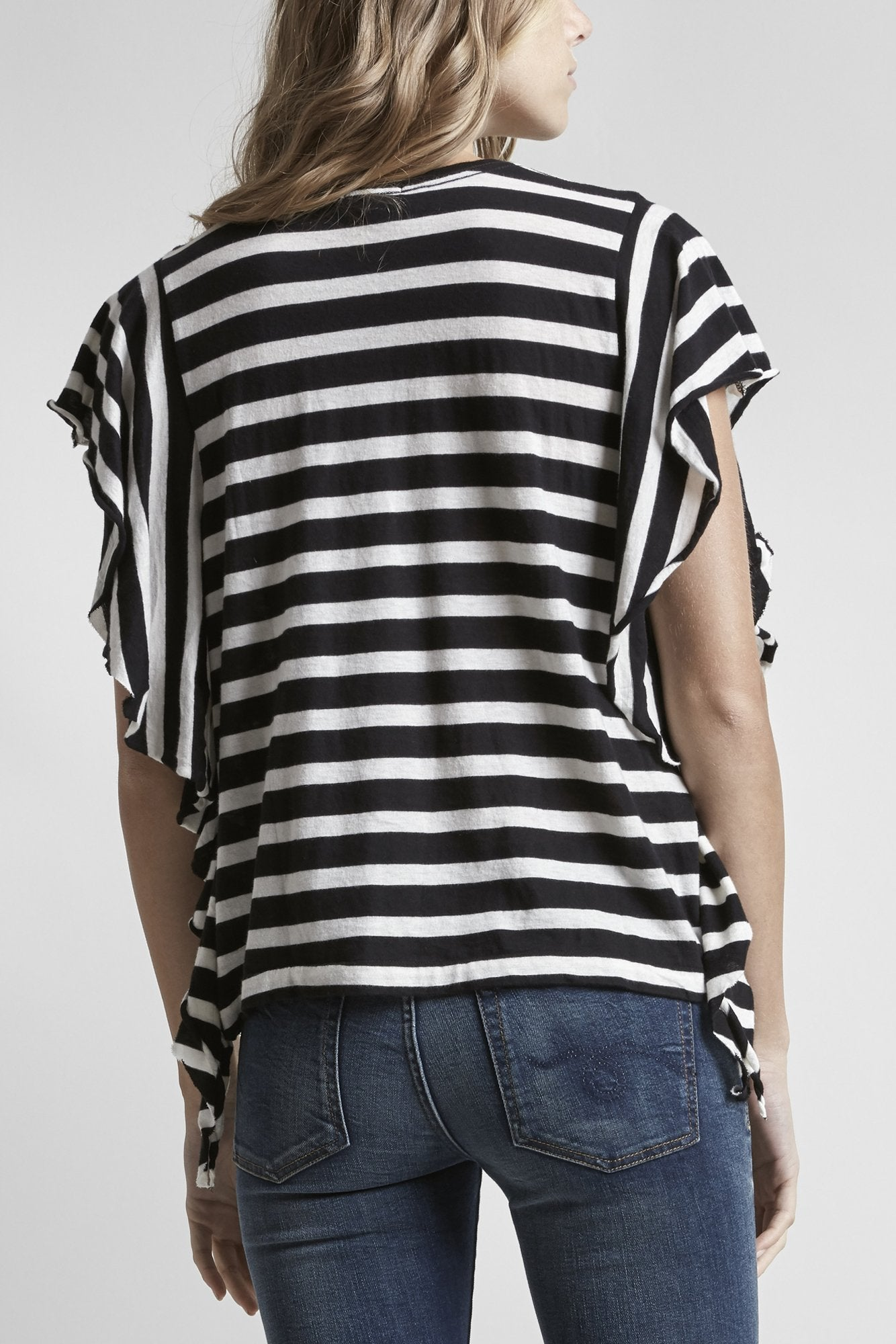 Striped Flutter T - Black and White Stripe