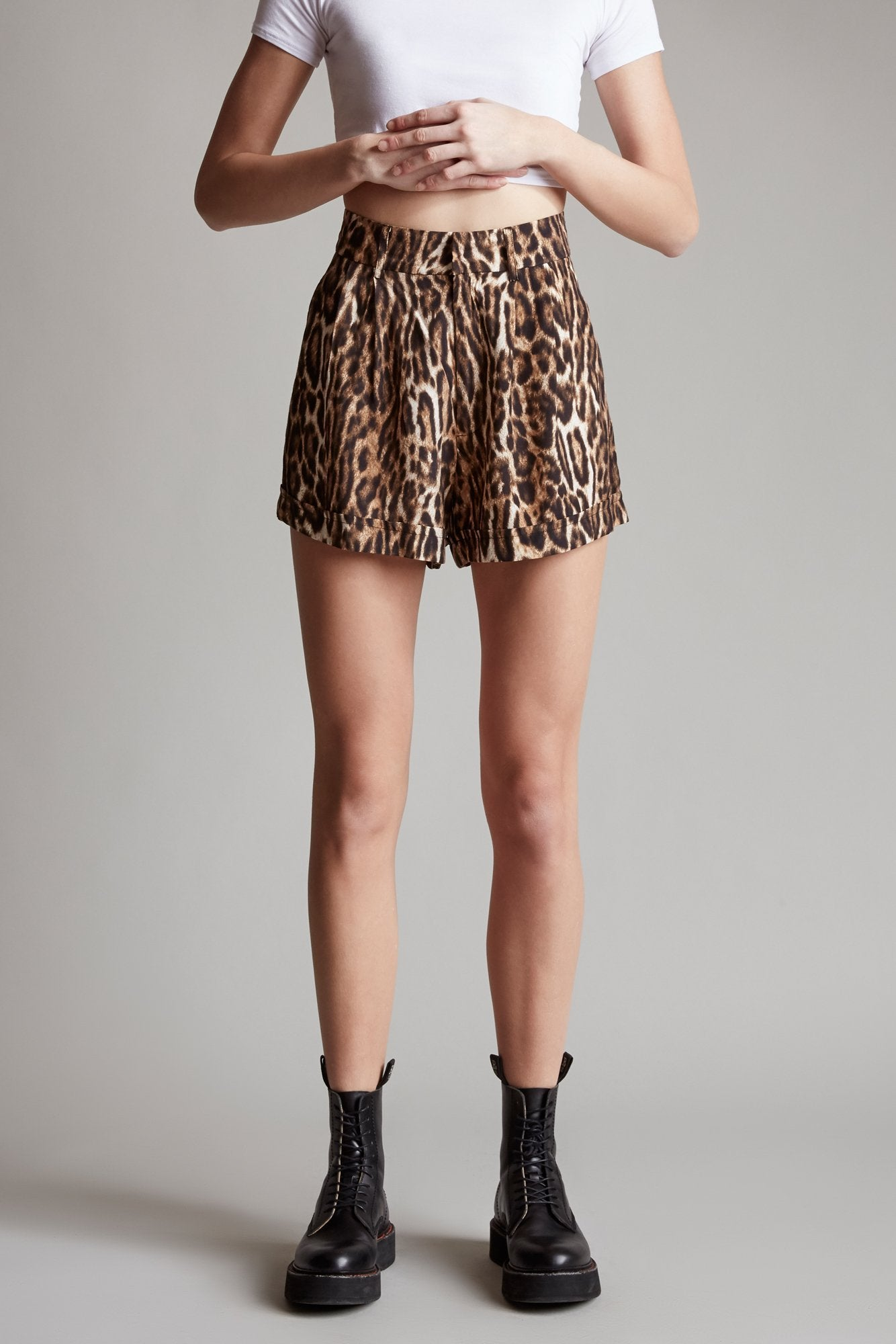 Pleated High Rise Short - Leopard