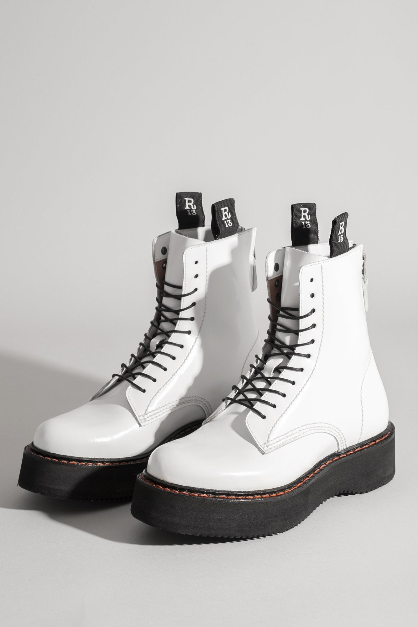 R13 Single Stack Lace up Boot - White