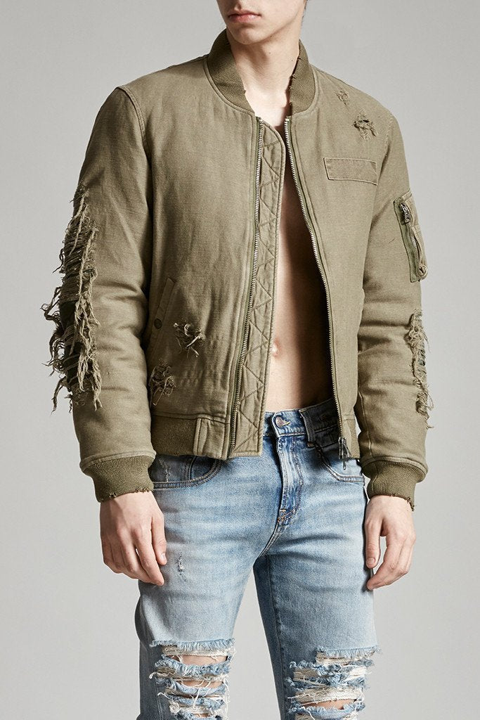 Ripped Puffer Bomber - Olive