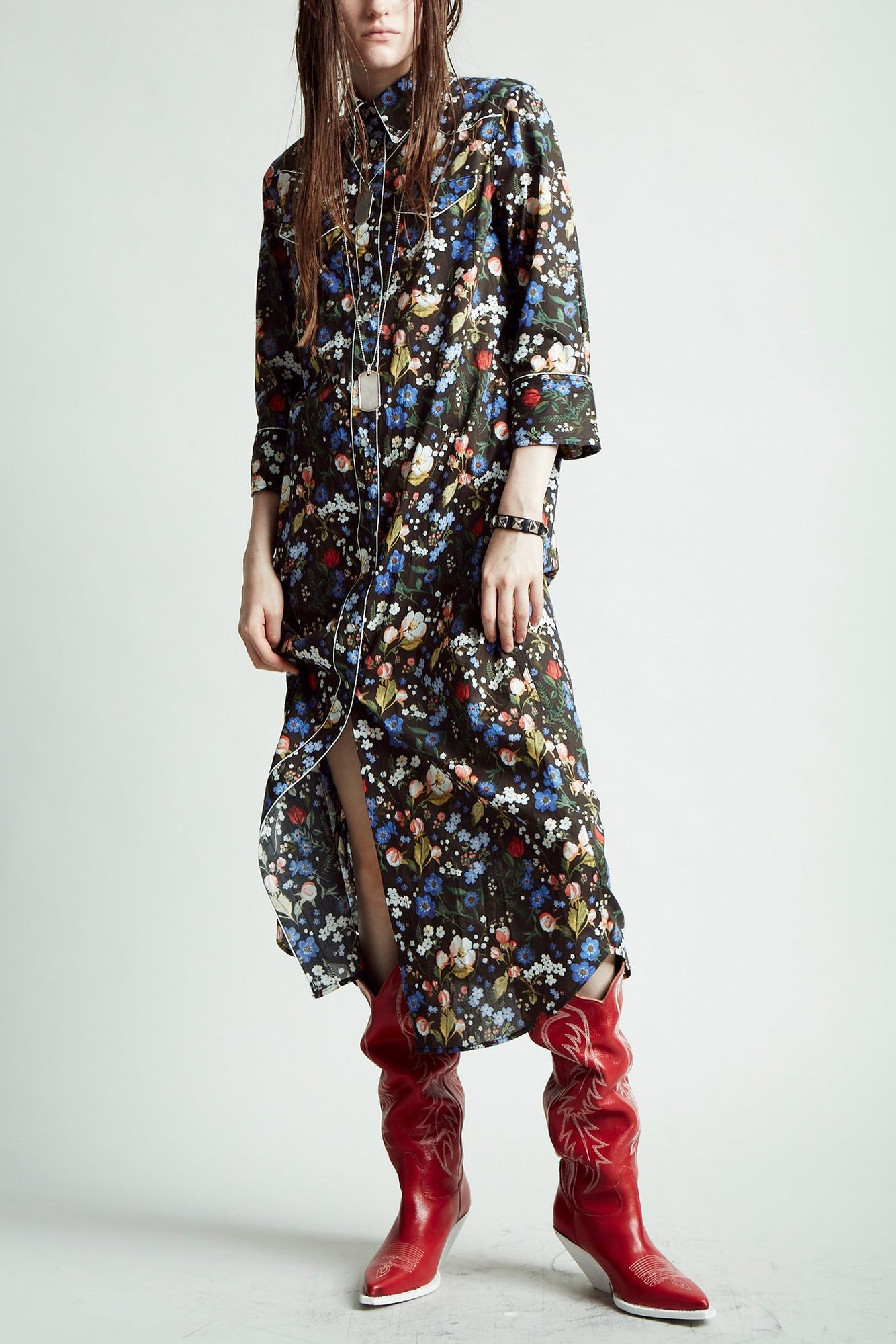 3/4 Sleeve Cowboy Dress - Multicolor Floral