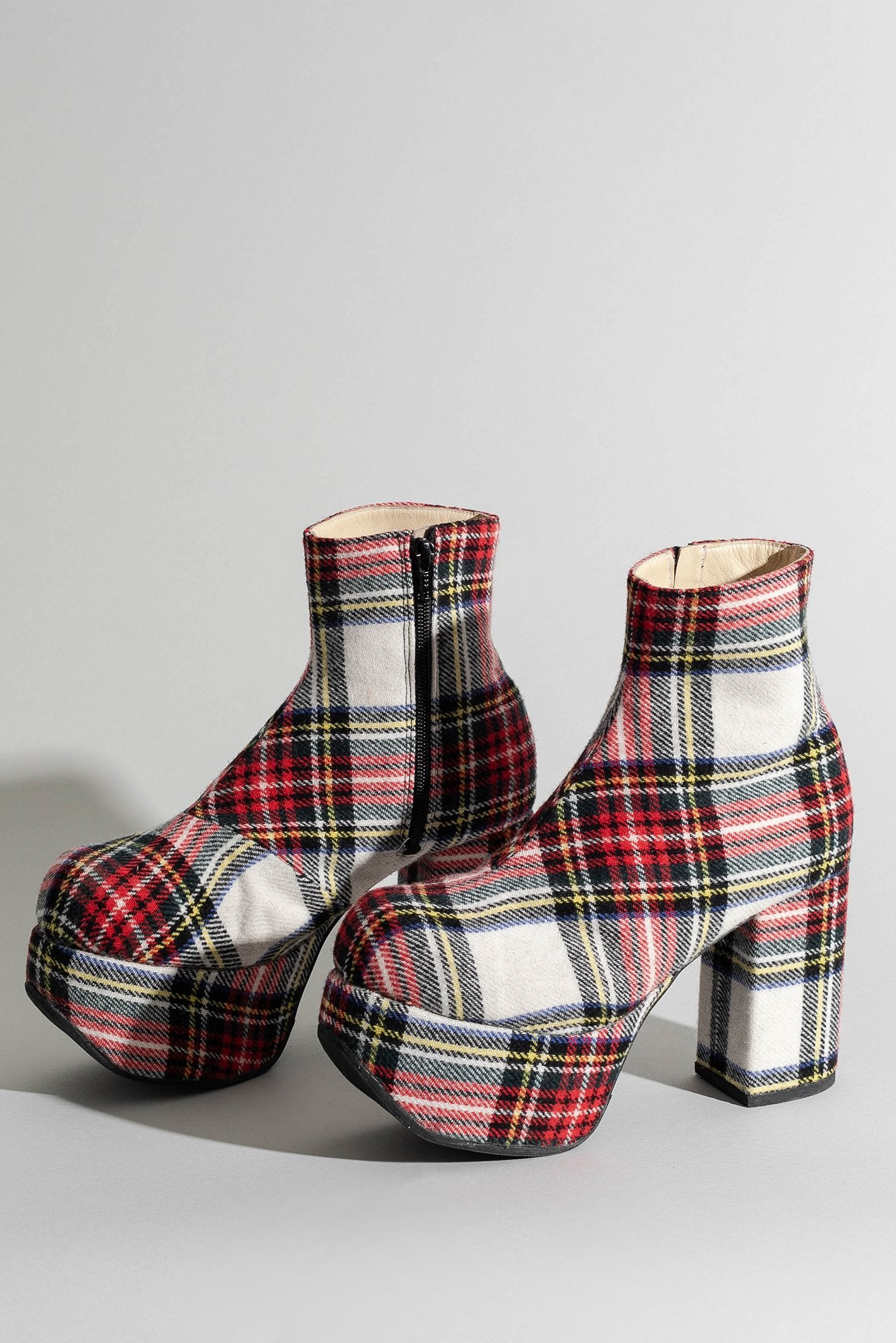 Platform Boot - Red Plaid