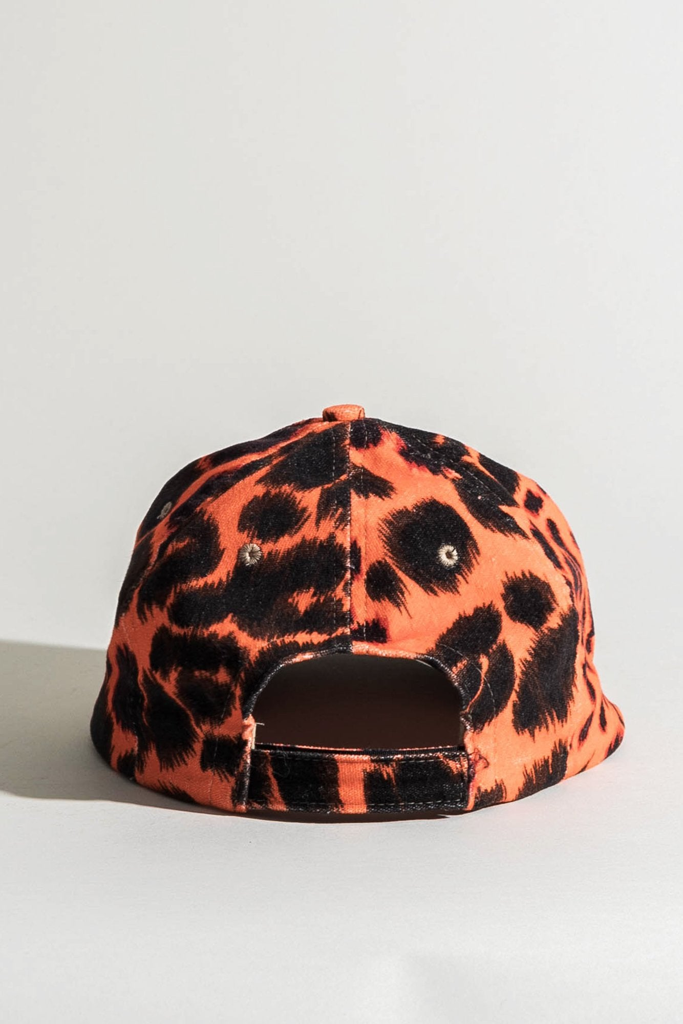 R13 Flat Brim Baseball Cap - Orange Leopard