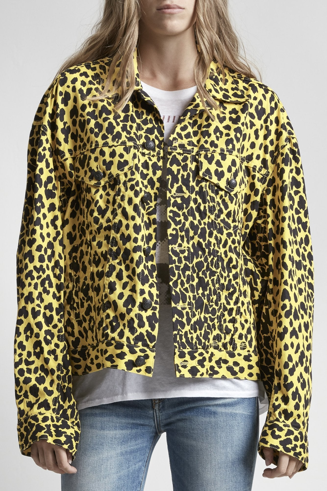 Reed Oversized Trucker - Yellow Leopard