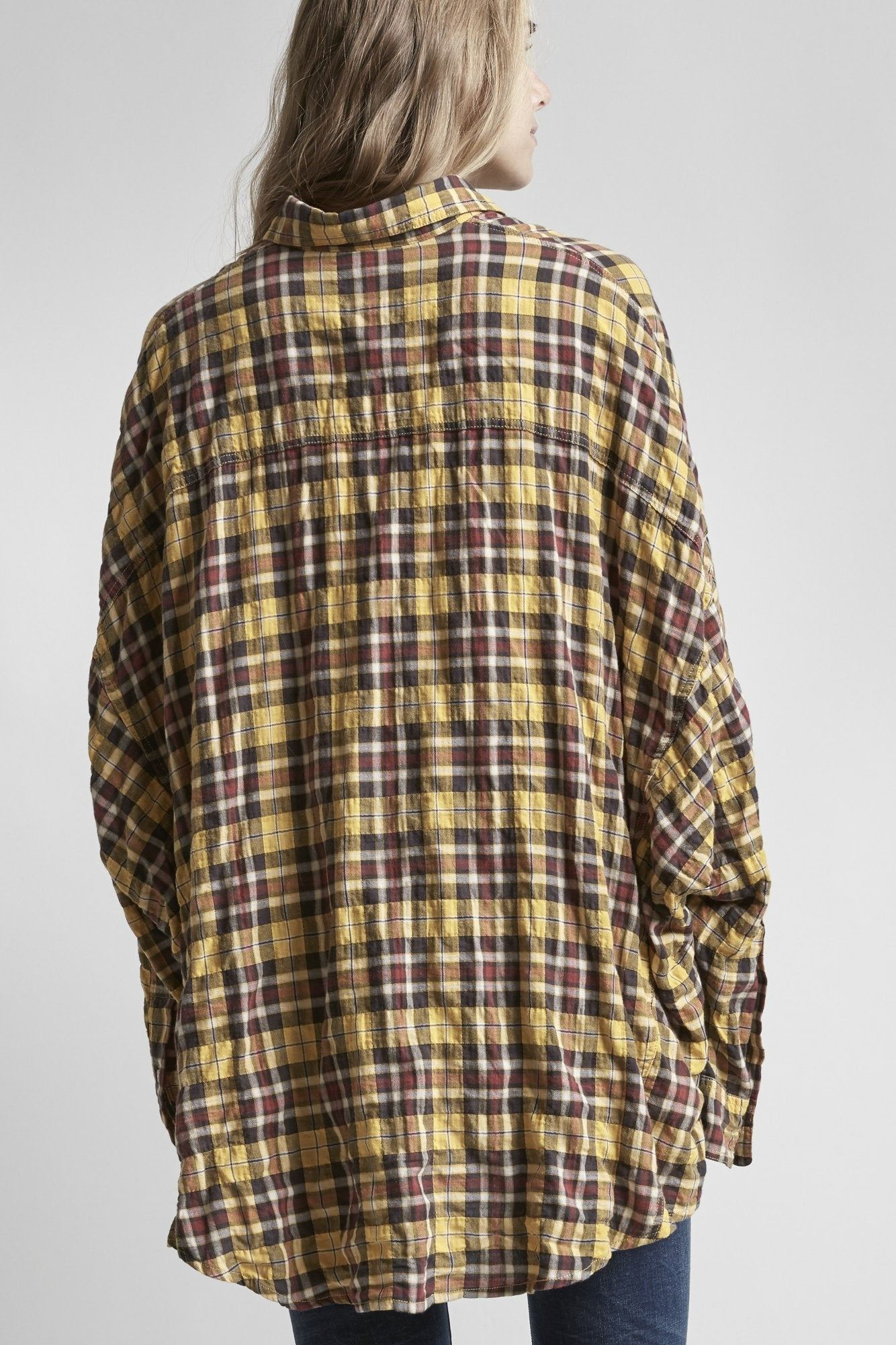 Oversized Plaid Shirt - Yellow Plaid