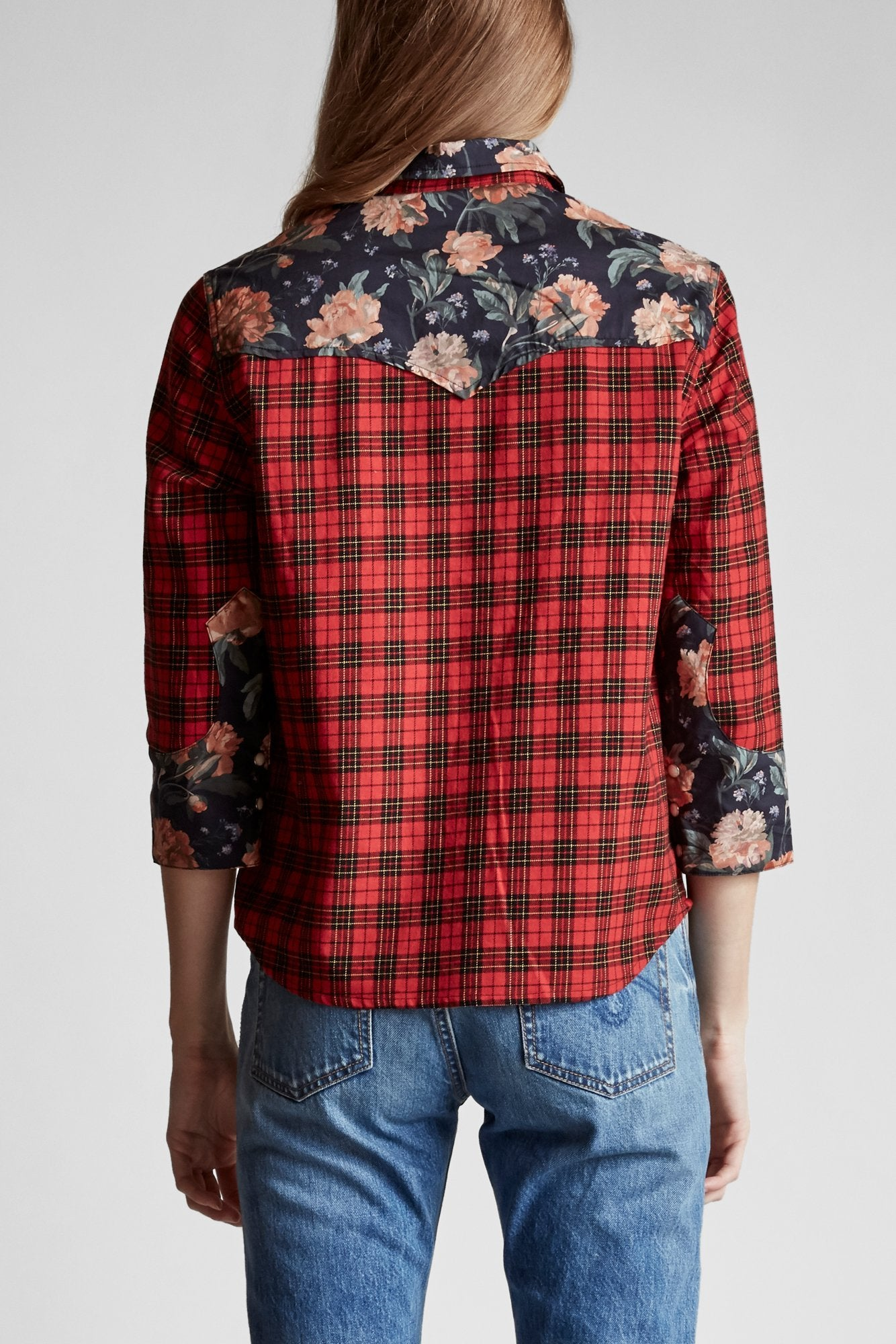 Exaggerated Collar Cowboy Shirt- Red Plaid with Black Floral