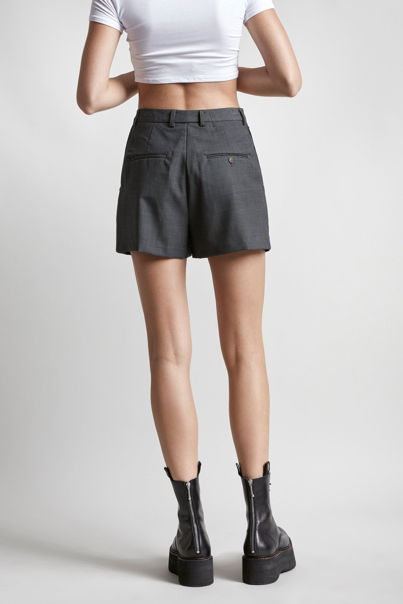 Double-Pleat Short - Grey
