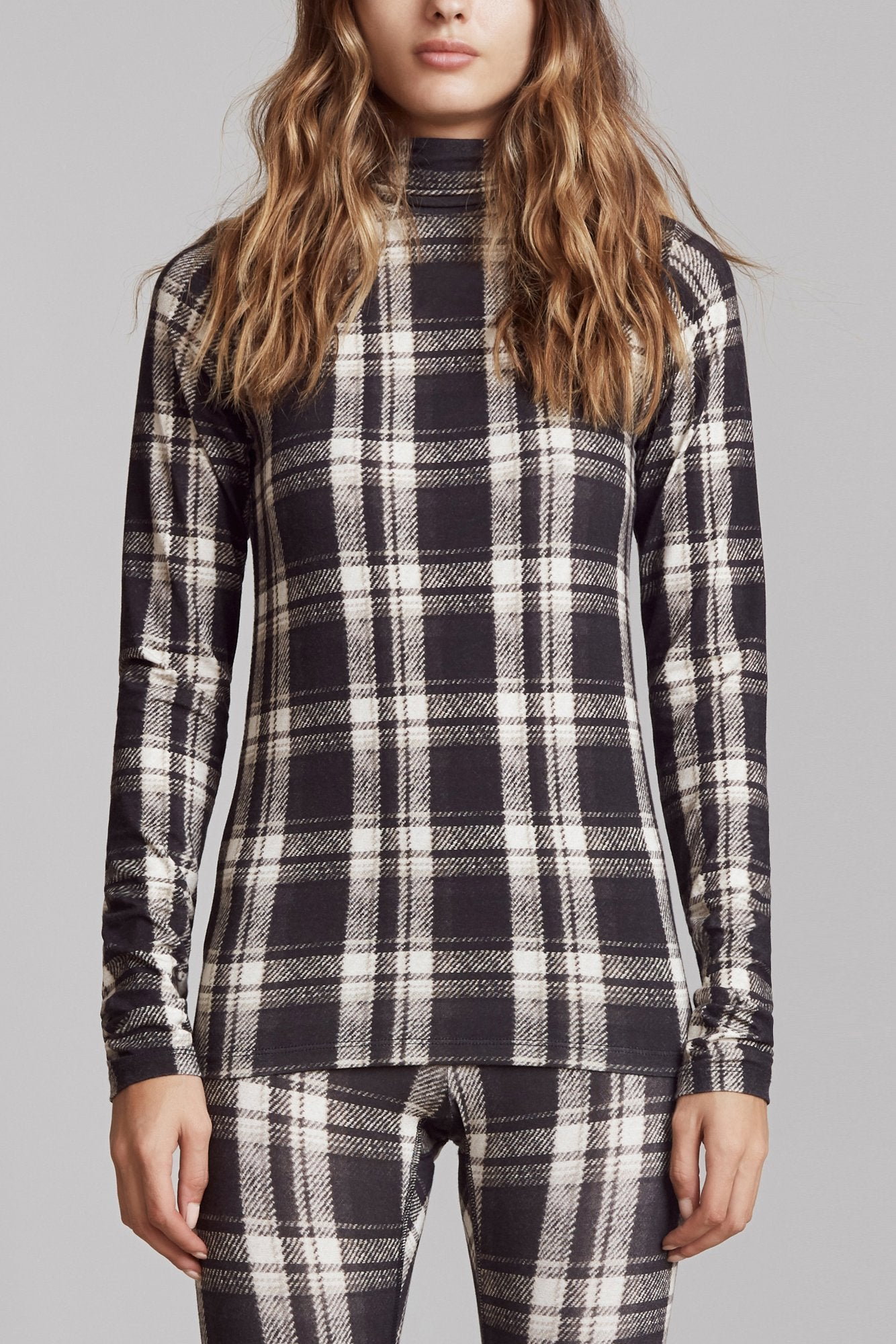 Black and White Plaid Turtleneck