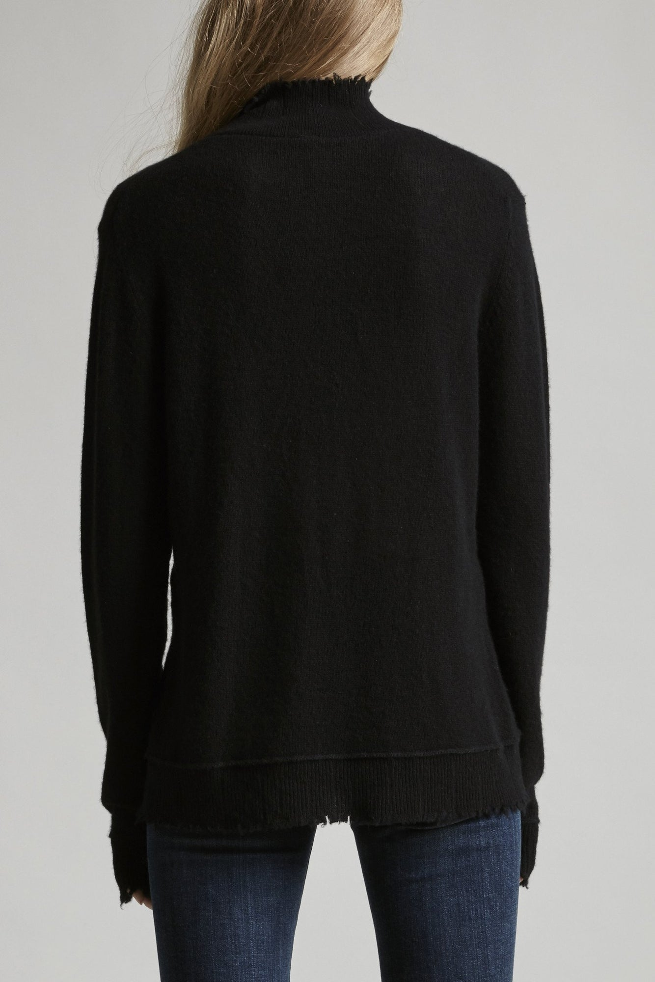 Distressed Edge Cashmere Turtleneck - Black