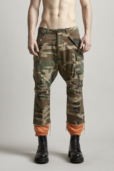 Harem Cargo with Sweat Cuff - Camo with Black Cuff