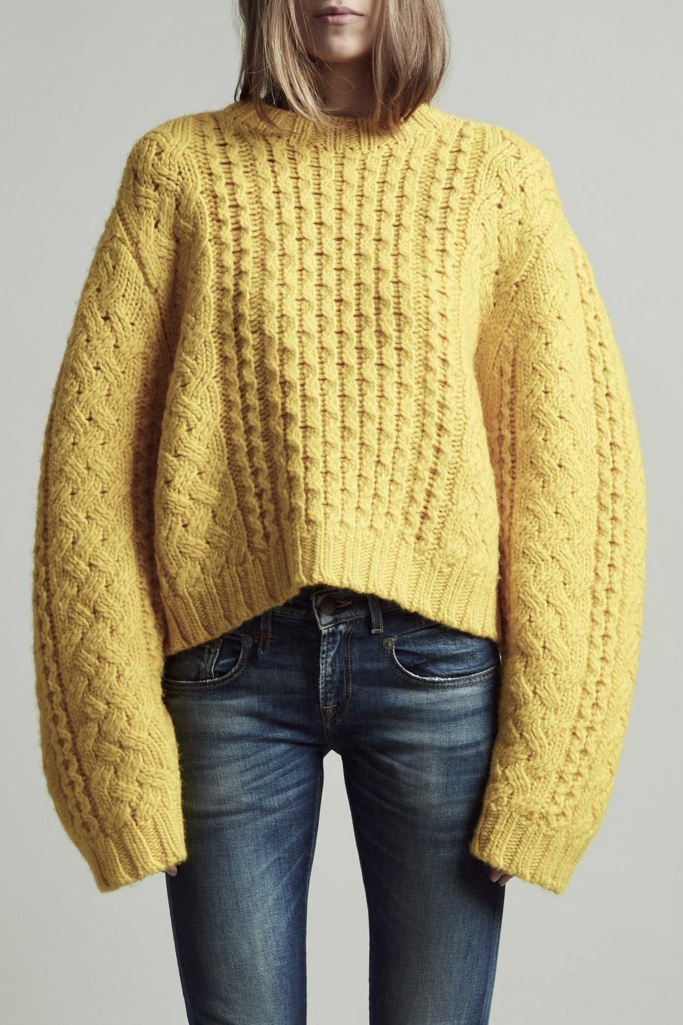 Cropped Aran Sweater - Yellow