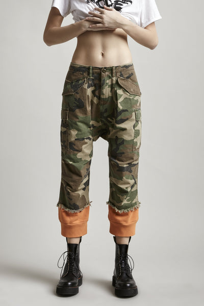 Camo Harem Cargo w/ Sweat Cuffs - Orange