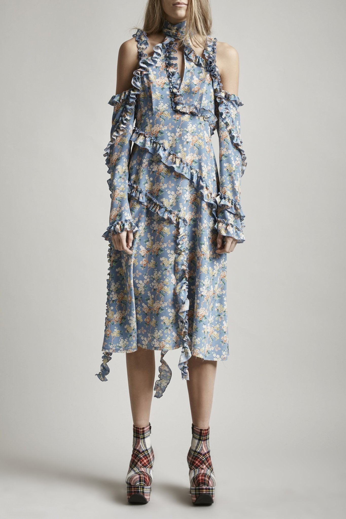 Ruffle Dress w/ Sleeve - Blue Floral