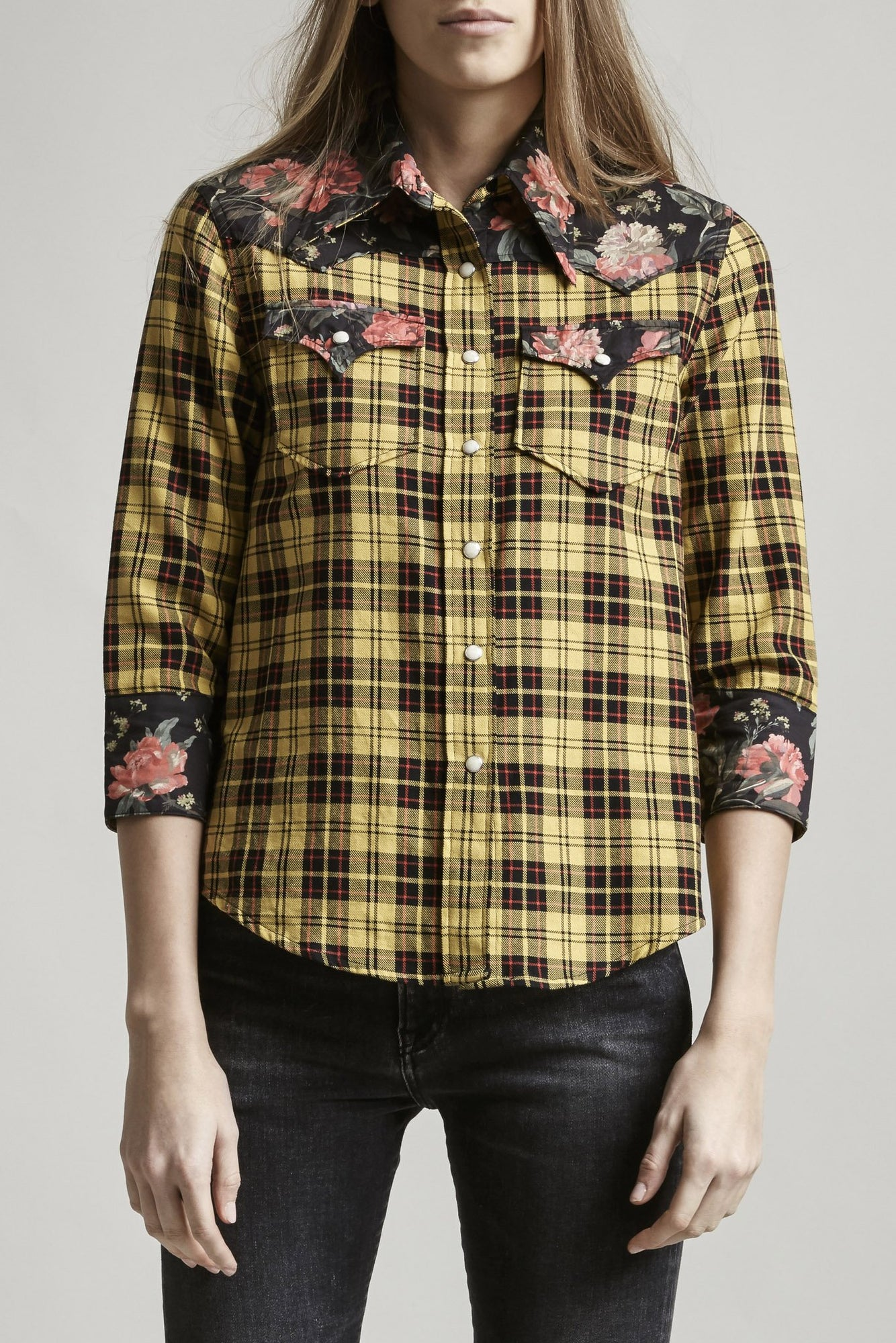 Exaggerated Collar Cowboy Shirt - Yellow w/ Black Floral