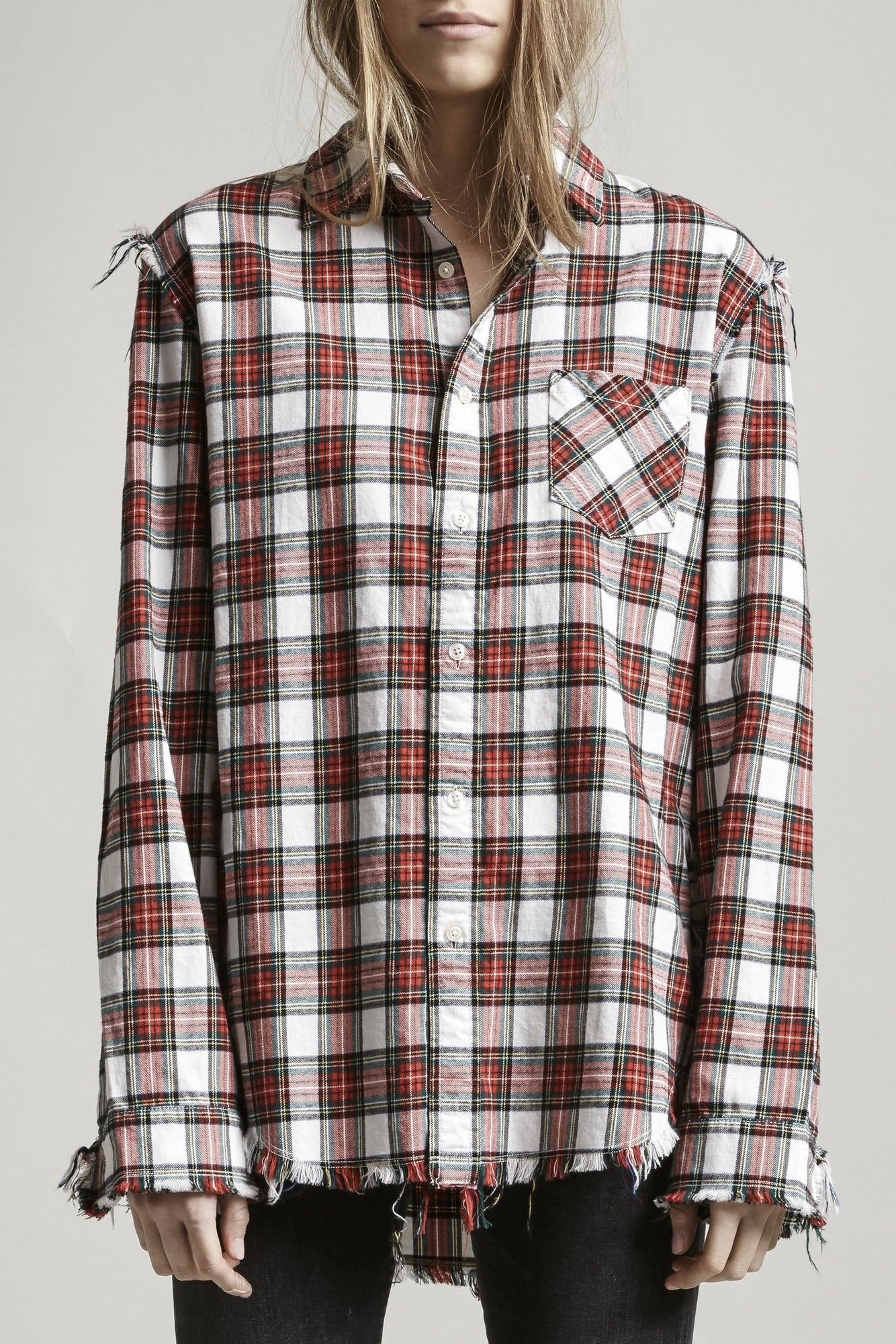 Shredded Seam Shirt - Ecru/Red Plaid