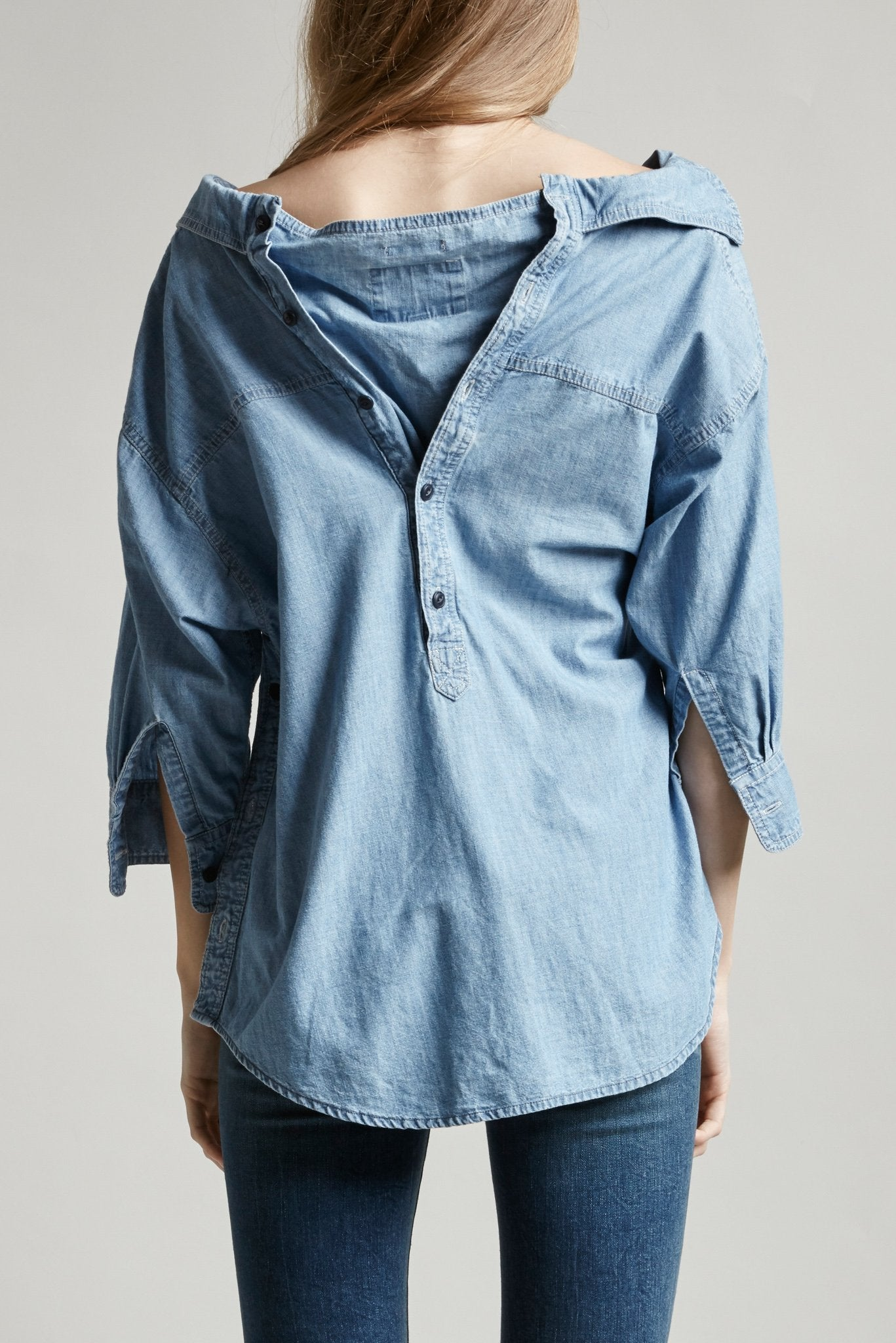 Overlap Chambray Shirt - Faded Indigo